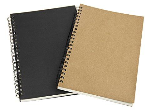 IPENNY 2 Stück Skizzenbuch mit Spiralbindung A5 Hochformat Skizzenblock Säurefrei Zeichenpapier Hardcover Notizblock Blanko Spiralbuch für Schreiben und Zeichnen
