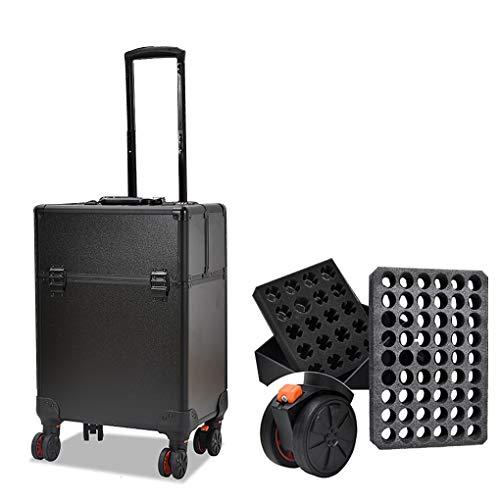 AOHMG 2 en 1 Maquillage Valise Trolley, 1 Portable en Aluminium}, Valise Professionnelle pour Coiffeurs avec poignée télescopique Lift Rod,Black