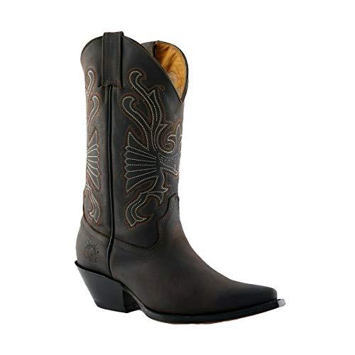 Grinders Buffalo Stivali Unisex di Pelle Marrone Stile Cowboy 10