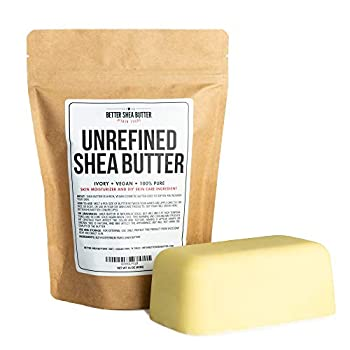 Unrefined African Shea Butter - Ivory 100% Pure & Raw - Moisturizing and Rich Body Butter for Dry Skin - Suitable for All Skin Types - Use Alone or in DIY Whipped Body Butters - 16 oz  1 LB  Bar