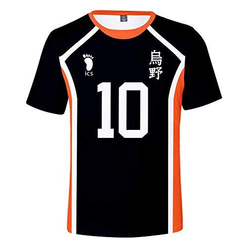 TISEAS Unisex Haikyuu Hinata Shoyo Cosplay T-Shirt Japanese Anime T-Shirt (No 10, L)