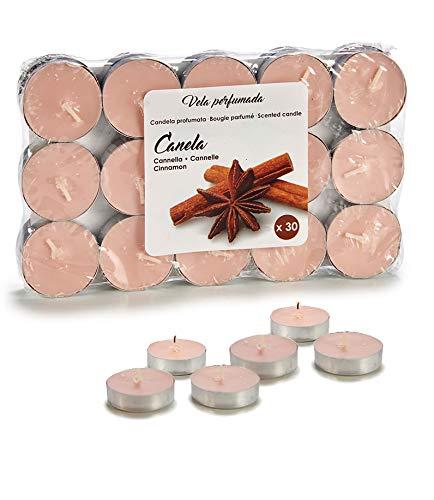 Regalos Estrella Azul Pack de velas aromáticas perfumadas, velas de te aromaticas pequeñas en paquetes de 30 unidades (Canela)