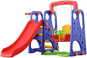 XIANGYU Toys Slide and Swing with Basketball Ring 3 in 1 Set Multi Color For Kids Activities Games
