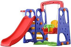 ألعاب الشرائح والتأرجح مع حلقة كرة السلة 3 في 1 مجموعة متعددة الألوان لألعاب الأنشطة للأطفال من إكسيانجلو