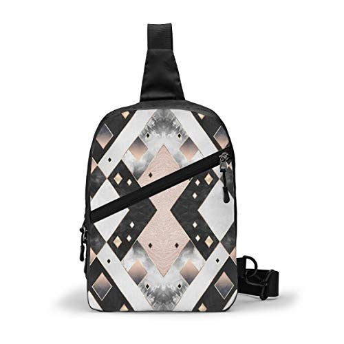 Art Deco Diamonds Chest Package Multipurpose Crossbody Outdoor Shoulder Bag Daypack Sling Backpack Large Capacity Casual Sport Rucksack for Hiking Travel Sport