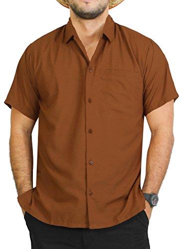 LA LEELA Men's Relaxed Hawaiian Shirt Swim Short Sleeves Loose Fit XS Brown_W880