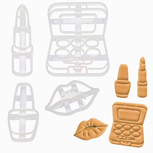 Bakerlogy 4er Set Makeup Ausstechformen (Formen: Kussmund, Nagellack, Lidschatten und Lippenstift),...