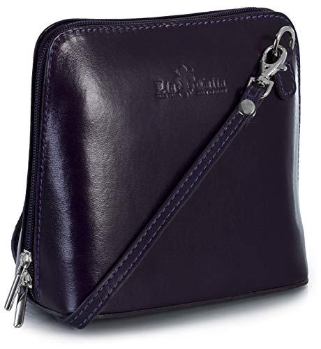 LIATALIA - Kleine Lederumhängetasche im echtes italienisches Leder liefert mit Schutzbeutel - ABBY - (z** - Purpur)