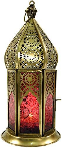 Guru-Shop Orientalische Messing/Glas Laterne in Marrokanischem Design, Windlicht, Rot, Farbe: Rot, 21x9,5x9,5 cm, Orientalische Laternen
