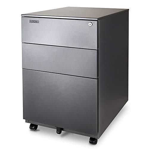 Aurora Modern SOHO Design 3-Drawer Metal Mobile File Cabinet with Lock Key Sliding Drawer, Fully Assembled, Metallic Charcoal