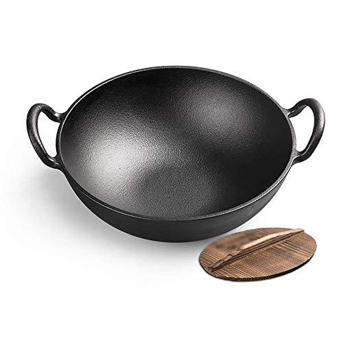 XXDTG Sala de herrajes antiadherente wok profundización pequeña olla de hierro fundido hogar sin revestimiento mini orejas freidora de hierro (Color : A)