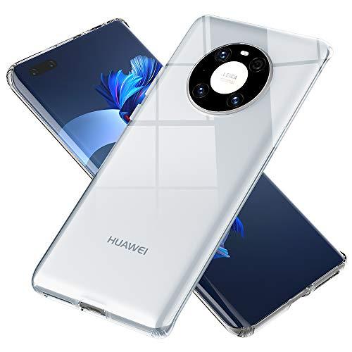 NALIA Klare Schutzhülle kompatibel mit Huawei Mate 40 Pro Hülle, Transparentes Kratzfestes Hard Backcover und Silikon Bumper, Durchsichtige Kunststoff Handyhülle Phone Hülle, Schutz Cover Handy-Tasche