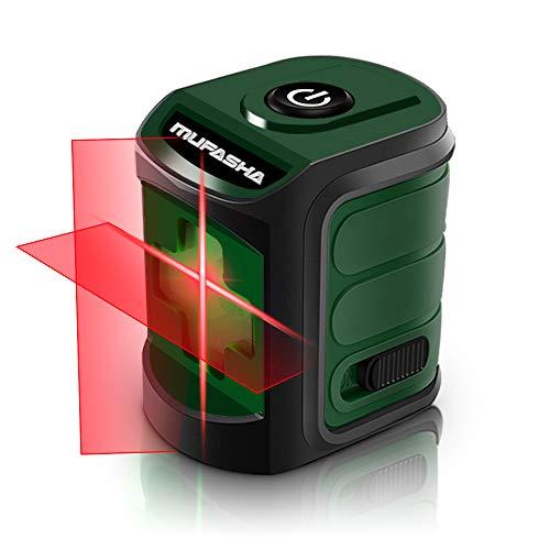 MUFASHA レーザー墨出し器 水平器 2ライン レーザーレベル ミニ型 持ち運びに便利自動水平調整機能 収納バック付き レーザークラス2 (Red Line)