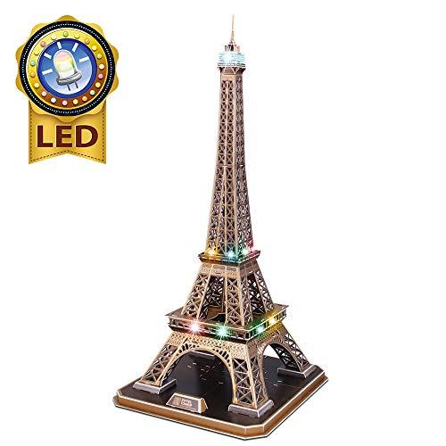 CubicFun 3D Puzzles Frankreich LED Tour Eiffel Architektur Modellbausätze für Erwachsene, DIY Papercraft Beleuchtung Paris Eiffelturm Dekoration Geschenk Spiel Spielzeug, 82 Stück