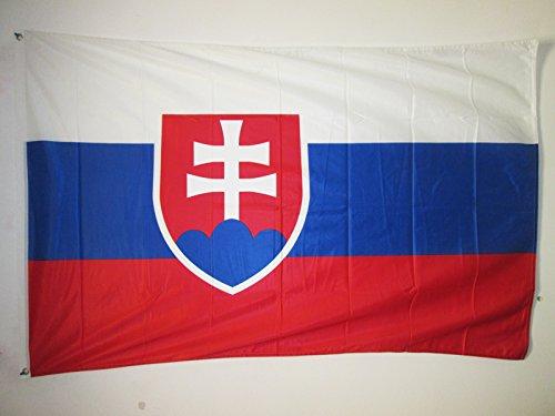 AZ FLAG Flagge SLOWAKEI 150x90cm - SLOWAKISCHE Fahne 90 x 150 cm Aussenverwendung Metallösen - flaggen Top Qualität