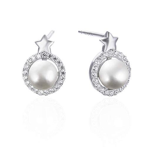 Elegant Womens Pearl Stud Earrings 925 Sterling Silver Star Earrings for Girls with 3A Cubic Zirconia Nickel Free