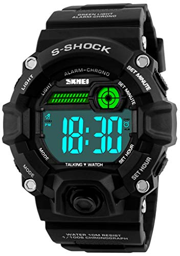 Men Outdoor English Talking Watch LED Digital Military Wristwatch with PU Band Voice Broadcast Time Watches