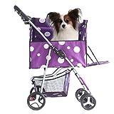 ADHW Carrito de viaje para mascotas, gato, perro, carrito para correr, tres ruedas para carga de 15 kg de goma EVA (color, R), D