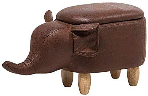 PGS Ottomanen Fußschemel Tierschuh Bank Elephant-förmigen Kunstleder Lagerung Hocker, Startseite Kindermode Mehrzweckschuhe Bench (Color : Brown, Size : 68 * 32 * 35cm)