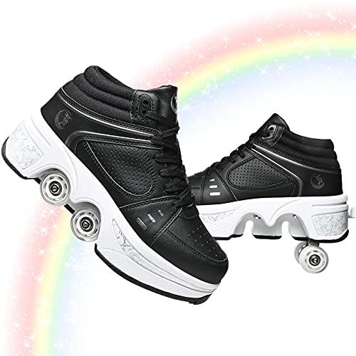 Patines Mujer, Patines Quad Niños, Zapatos con Ruedas para Niñas, Zapatos Unisex con Rueda Calzado De Skate Técnico para Deportes Al Aire Libre