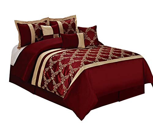 BEDnLINENS 7 Piece Claremont Classic Diamond Embroiderd Comforter Set- Queen King Cal.King Size (Queen, Burgundy)
