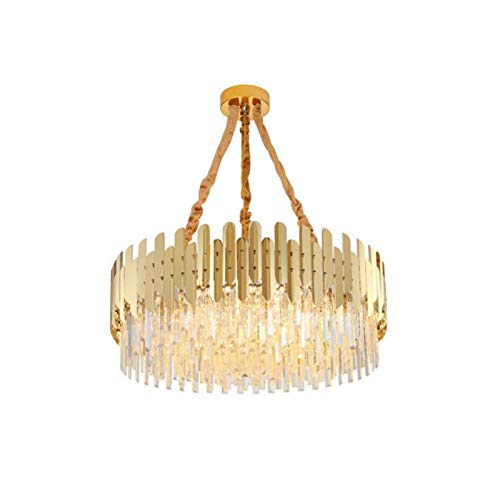 SHSM Oro Moderna Araña de Cristal Redondo, Lujo Ajustable Lighting Lighting Iluminación E14 Luces de Techo de Cristal para la Sala de Estar Dormitorio Bar-8Light 40 * 30Cm limpiador