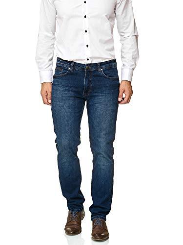 BARBONS Herren Jeans - Bügelleicht - Regular-Fit Stretch - Business Freizeit - Hochwertige Jeans-Hose 02-blau 34W / 34L