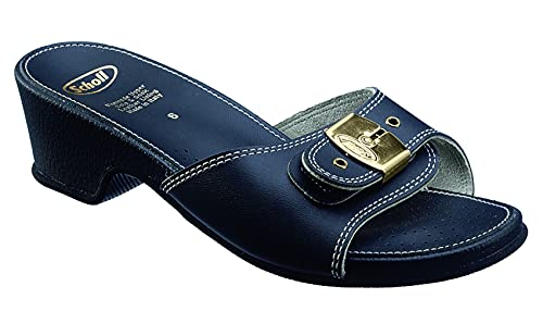 Scholl Tamaño 39 Sandalias de mujer de tacón alto con aspecto de cuero azul marino