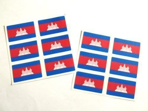 Mini Pack Autocollant, 33x20mm Rectangle, Autocollantes Cambodge étiquettes, Cambodgienne Drapeau Autocollants