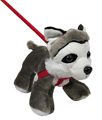 Husky Plush Puppy with Harness and Extendable Walking Stick Leash, 10in