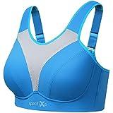 specifixs Women's Plus Size Back Close Sports Bra Blue, 40DD