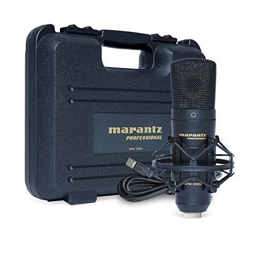 Marantz Professional MPM-2000U - Micrófono de condensador USB para grabaciones en Mac/ PC, podcasts, juegos; con soporte de araña, cable USB y estuche