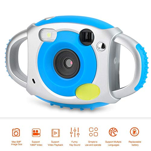 Oumij Kinder Kamera AMKOV 1,8 Zoll Mini Spielzeug HD Digital Video Kamera Geschenk für Kinder Kinder(Silberblau)