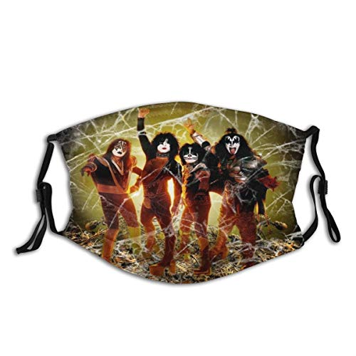 KGSPK Face Cover Rock and Roll Music Ki-ss Band Members Balaclava Unisex Reusable Windproof Anti-Dust Mouth Bandanas Outdoor Camping Motorcycle Running Neck Gaiter with 2 Filters for Teen Men Women