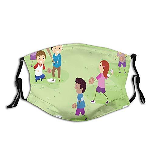 DPASIi Impresión 3D para proteger la cara, amigos en el patio, jugando al béisbol, alegres días de la infancia, diseño de dibujos animados