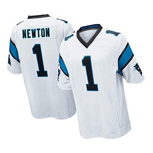 Rugby-Trikot Cam Newton Carolina Panthers 1# Elite Edition Besticktes Fußballtrikot Kurzarm Sport Top T-Shirt Trikot, lässig atmungsaktiv S-3XL-White-XL(188~193)
