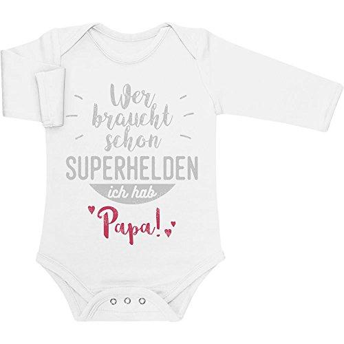 Shirtgeil Wer braucht Schon Superhelden ich hab Papa Baby Langarm Body 50/56 (0-3M) Weiß
