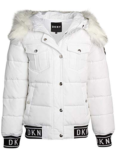 DKNY Girls' Winter Coat – Heavyweight Quilted Bubble Puffer Bomber Jacket with Fur Trimmed Hood, Size 7/8, White/Natural Fur