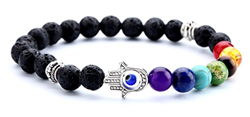 Doitory Men Women 8mm Lava Rock Chakra Beads Bracelet Gifts for Boys Elastic Natural Stone Yoga Bracelet Bangle(Hamsa Hand)