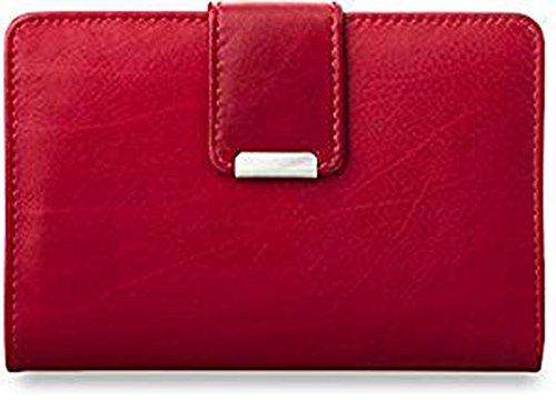 Práctica cartera de piel para mujer, monedero, rojo (negro)...