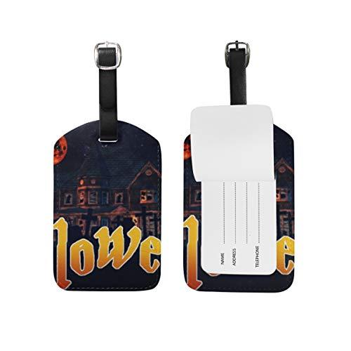 LORONA Helloween Calabaza Halloween Scary Etiquetas de equipaje Cuerdas Etiqueta de identificación de viaje para maleta Equipaje de mano, 1PC'