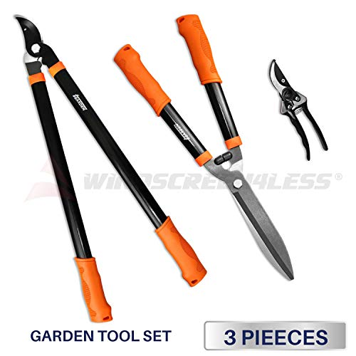 iGarden 3 Piece Combo Garden Tool Set with Lopper, Hedge Shears and Pruner Shears, Tree & Shrub Care Kit