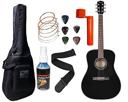 Fender Acoustic Guitar CD60 Dreadnought 6-Strings - Walnut Fret board-Black With Sponge bag, Belt, String set, String winder & Plectrums Complete Kit.