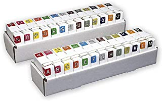 Alphabetic Folder Color-Coded Labels Bar-Style, Letters A-Z -26 Handy Rolls- 500 Labels on Roll,