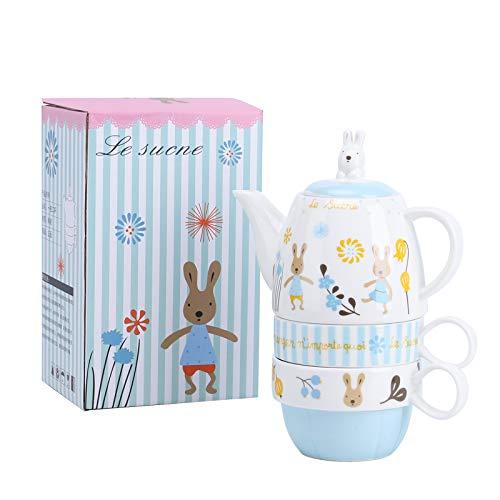 fanquare Juego de Tazas de Té de Conejo de Dibujos Animados, Juego de Té de Cerámica para Una Persona, 1 Tetera con Infusor y 2 Tazas