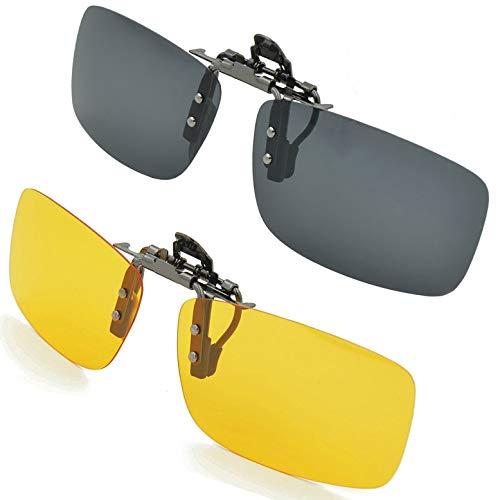 SPLAKS Sonnenbrille Aufsatz 2-Stück Clip on Polarisiert Clip polarisierte Sonnenbrille Flip up Sonnenbrille Clip Gegen Licht für Unisex Frauen und Männer Brillenträger(Schwarz+Gelb)