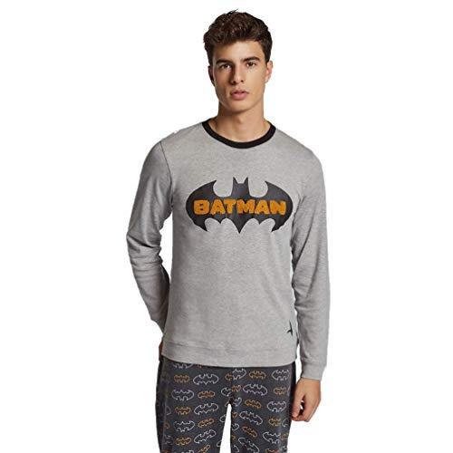 GISELA Pijama de Hombre Estampado de Batman 2/1760 - Gris, M