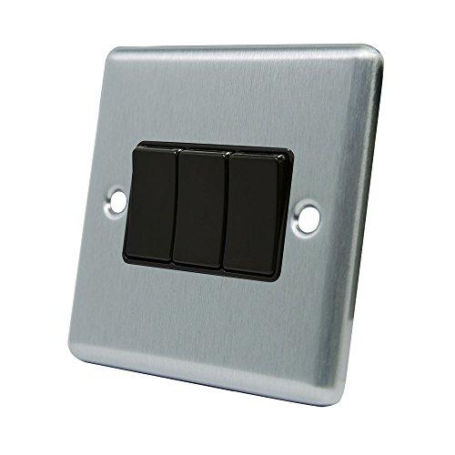 AET CSC3GSWIBL 3-Fach-Lichtschalter/Wippschalter, Metallplatte mit mattierter Chromoberfläche, schwarzer Plastik-Kippschalter, 10A