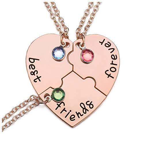 Jovivi Best Friends Forever Necklaces for 3 Alloy Heart Puzzle Pieces BBF Friendship Pendant Necklace Jewelry