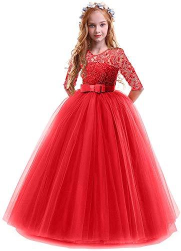 IWEMEK 5-16T Little/Big Girls' Floor Longitud Encaje Tulle Dama de Honor Vestido Flor Pageant Fiesta Boda Maxi Noche Danza Gown